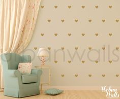 Little Hearts wall decals in 24 colors - Urban Walls - also have polka dots, anchors, stars, triangles, etc