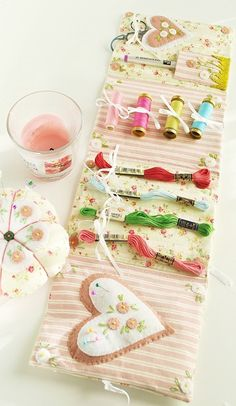 Beautiful needlebook, sewing kit...lovely detail.  This website has very beautiful ideas for sewing and needlework!  by Atelier Lavanda