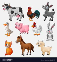 Farm animal collection set on white background Vector Image – Nutztiere Farm Animals Preschool, Zoo Animals, Cute Baby Animals, Wild Animals, Cartoon Drawings, Animal Drawings, Cute Drawings, Animal Crossing Qr, Animal Wallpaper