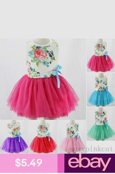 4a970a64e Baby Kids Girl Toddler Princess Pageant Party Tutu Lace Bow Floral Dress  Colour: As the picture shows.