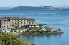 Beaufort Hotel Neuchatel (now Beau-Rivage) originalky conceived by Ed Tuttle) Hotel Beau Rivage, Restaurants, Night Life, Switzerland, Travel Guide, Villa, Mansions, City, World