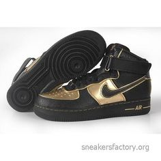 buy popular ab23c 62128 Cheap Men s Nike Air force 1 High Shoes Black Gold For Sale