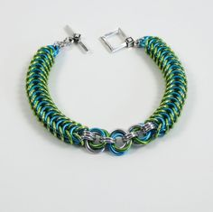 Lime and Turquoise Flattened Box Weave Chain Mail Bracelet, Chainmaille Jewelry, Spring Jewelry
