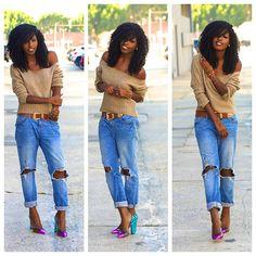 DIY Off Shoulder Sweater + Distressed Boyfriend Jeans