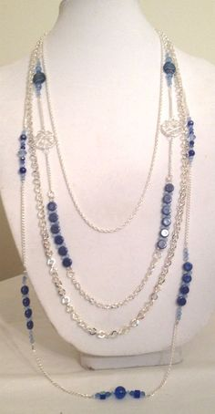 Long Multi-Strand Blue and Silver Necklace with Glass Blue and Black Beads, Silver Chain, Swarovski Crystal, and Blue Cats Eye