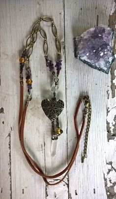 Antiqued Brass Heart Locket with Raw Quartz, Chiapas Amber and Amethyst on Leather, Handmade, OOAK by SaracenProvisions on Etsy