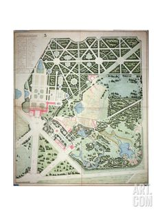 General Plan of the Parks of the Two Trianon Palaces, Versailles, Early 19th Century Giclee Print at Art.com