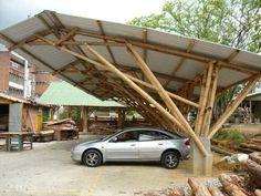 New House Entrance Pergola Ideas Bamboo Structure, Timber Structure, Bamboo Architecture, Architecture Design, Ideas Cabaña, Bamboo Roof, Bamboo House Design, Bamboo Building, Carport Designs