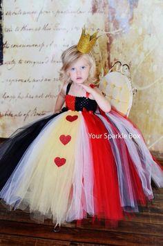 Queen of Hearts costume, tutu, cute Halloween Costume ideas for kids, Alice in Wonderland costume DIY children's costume
