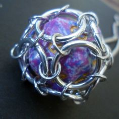 D20 Dice Pendant Chainmaille Gamer Chic Magenta and Blue Speckles $15
