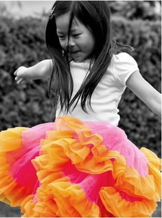 Orange and pink tutu.  #kidsclothes, #tutus