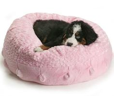 Pet Accessories -- Luxe Coco Puff Dog Bed (Pink)