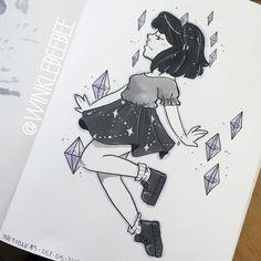 "1,613 Likes, 3 Comments - Daily Drawings by Kirsten W. (@winklebeebee) on Instagram: ""Inktober Day 5 [Crystal]. ✨✨✨ #dailydrawing #inktober #inktober2016 #art #artstagram #drawing…"""