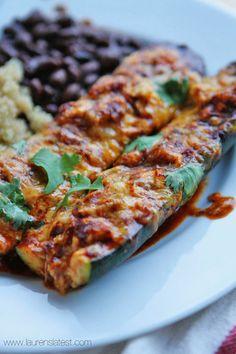 Stuffed zucchini boats, Ground turkey enchiladas and Turkey enchiladas ...