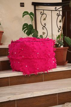 Rose Handmade Moroccan Pouf  Winter Promo .. by AtlasSecrets