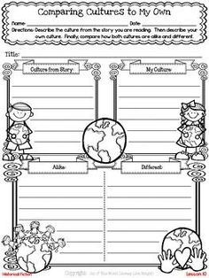 Freebie! This resource contains a lesson for both reading and writing workshops on comparing a culture from a book to your own and showing characters' feelings in writing. It also includes a printable graphic organizer and thinkmark for assessment.