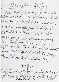 samrockwells:    Michael Jackson's handwritten 'Billie Jean' lyrics, circa 1982