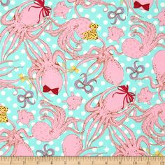 Seven Islands Octopus Canvas Blue from @fabricdotcom  Designed by Kokka, this lightweight (5 oz./square yard) cotton canvas fabric is perfect for toss pillows, window treatments, apparel and more. Colors include brown, hot pink, pink, yellow, lilac, white and aqua blue.