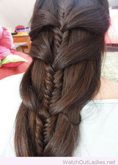 cool Wonderful mermaid braid made with large sections and a fishtail braid on brown hair color by http://www.dezdemon-exoticfish.space/fishtail-braids/wonderful-mermaid-braid-made-with-large-sections-and-a-fishtail-braid-on-brown-hair-color/