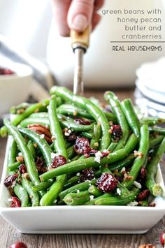 10 Most Misleading Foods That We Imagined Were Being Nutritious! Green Beans With Honey Pecan Butter And Cranberries Are The Perfect Balance Of Crunchy, Tangy And Sweet That You Will Want To Eat Year Round Cranberry Recipes Thanksgiving, Thanksgiving Green Beans, Traditional Thanksgiving Recipes, Thanksgiving Sides, Christmas Recipes, Italian Thanksgiving, Christmas Lunch, Side Dish Recipes, Vegetable Recipes