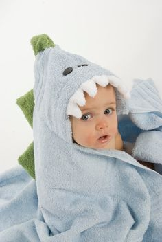 Dinosaur hooded towels! This Etsy seller has loads of styles, and you can personalize them too!