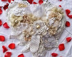 Wedding Decor Vintage, Shabby Chic Wedding Decor, Boho Wedding, Wedding Wreath, Bridal Shower, Rustic Wedding, Shabby Wedding, Heart Decor  For this awesome heart decoration, i used a pair of vintage greek wedding crowns - greek stefana- ca. 50s or older, with little fowers and pearls, twisted around the crown base. (They are always used as a pair at the Greek orthodox weddings).  The bride and the groom as well wear the wedding wreaths during the ceremony. These stefana are tied together…