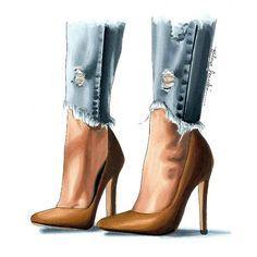 La imagen puede contener: calzado Source by BoernerRenreob dibujo Fashion Design Drawings, Fashion Sketches, Fashion Prints, Fashion Art, Mode Poster, Illustration Mode, Illustrations, Shoe Sketches, Girly