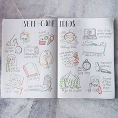 These are basically some of my self care ideas. My favourite activity to do when me-time or sad is either painting/ lettering/ doodling, art related activities! How bout you? . . . #sherbujo #showmeyourplanner #mujinotebook #mujipens #bohoberrytribe #bulletjournalcollection #bulletjournaljunkies #doodle #selfcareday #selfcaredoodle #selfcareideas