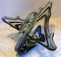 Vintage Sooner Art Glass Large Blown Swan Blue Yellow Mid Century Centerpiece #SoonerGlass