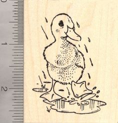 Duck Playing in the Rain Rubber Stamp (J12004) $11 at RubberHedgehog.com