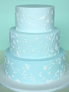 BLUE AND WHITE Wedding Cake by Sharon Wee Creations