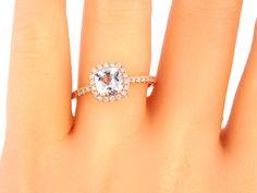 Etsy 14K Rose Gold Cushion Cut Aquamarine Diamond Halo Engagement Ring Wedding Ring Anniversary Ring Prom #Engagement #Ring