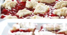 Cherry Cream Cheese Bars - a great breakfast treat or perfect for dessert! Cream Cheese Bars, Good Food, Yummy Food, Beverages, Drinks, Dessert Bars, Cookie Bars, Food Items, Cheesecake Recipes