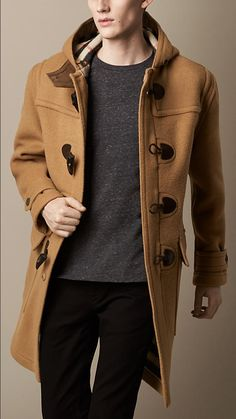 $1,295, Camel Duffle Coat: Burberry Oversize Wool Duffle Coat. Sold by Burberry. Click for more info: https://lookastic.com/men/shop_items/93251/redirect