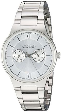 Caravelle New York Men's Analog-Quartz Watch with Stainless-Steel Strap, Silver, (Model: Casual Watches, Watches For Men, Bulova, Rolex Watches, Quartz, Stainless Steel, Amazon, Metal, Classic