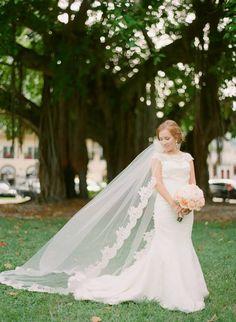 Shannon in Augusta Jones gown and Erica Koesler custom veil
