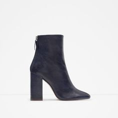 ZARA - WOMAN - LEATHER ANKLE BOOTS WITH BLOCK HEEL
