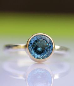 Portuguese London Blue Topaz In 14K Gold Ring (Limited Edition) - Made To Order