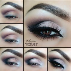 Get the look with #elymarino Apply Plum above the crease (My Beauty Weapon Palette) 2. Apply Fab in the tear duct and slightly on the first part of the lid 3. Apply Onyx in the outer V and blend slightly in the crease 4. Apply Heiress on the Lid, keeping underneath the crease 5. Apply Little black dress gel liner, add your lashes and your finished!! Lips/Nice lipstick (Motives for Lala)