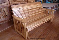 Porch Gliders Porch glider made of cedar wood Furniture Gliders, Porch Furniture, Diy Outdoor Furniture, Coastal Furniture, Furniture Plans, Wood Furniture, Garden Furniture, Woodworking Workbench, Woodworking Furniture