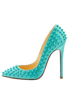 Christian Louboutin Turquoise 'Pigalle' Spiked Pumps Spring-Summer 2014 #CL #Louboutins #Shoes