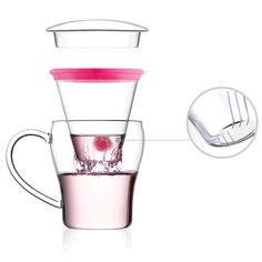 300ml Clear Glass Water Mug Tea Cup Tea Filter Infuser Ring Lid Tea Server Set