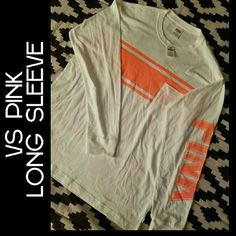 WEEKEND SALE! VS PINK LONG SLEEVE NWT. WHITE  W/ NEON ORANGE. FITS A LITTLE OVERSIZED. PINK Victoria's Secret Tops