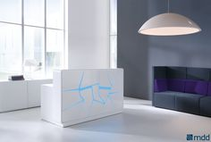 #Contemporary Arctic summer - ice floes warmed up with the glow-tube lighting. Fancy design of this #reception #desk is intended for people with imagination, who appreciate elegance and dislike monotony.