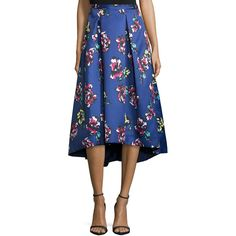 Phoebe Midi Floral-Print High-Low Skirt ($340) ❤ liked on Polyvore featuring skirts, blue multi, mid-calf skirt, hi low skirt, knee length pleated skirt, blue midi skirt and calf length skirts