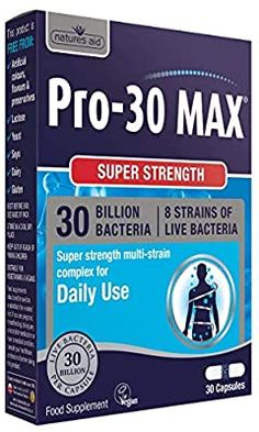Natures Aid Max Billion Daily Probiotic) - Pack of 30 Vegetarian Capsules Lactobacillus Reuteri, Lactobacillus Acidophilus, Stomach Problems, Feeling Nauseous, Ibs, Gut Health, The Cure, Packing, Vegetarian
