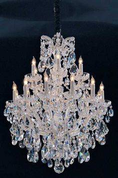 CRYSTORAMA MARIA THERESA 18 LIGHT CLEAR CRYSTAL SILVER CHANDELIER