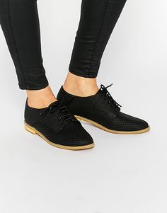 Image 1 of Lost Ink Beat Black Lace Up Flat Shoes