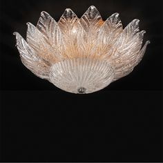 Ceiling lamp Ceiling lamp with Murano crystal leaves of the HELIOS collection Classic light fixture designed and produced in Greece by MAVROS Lighting. Ceiling Lamp, Ceiling Lights, Light Fixtures, Chandelier, Leaves, Crystals, Design, Decor, Candelabra