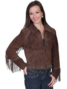 NWT Scully Women's Chocolate Suede Leather Studded Western Fringe Jacket - XL #Scully #Western #Doyoureallyneedone